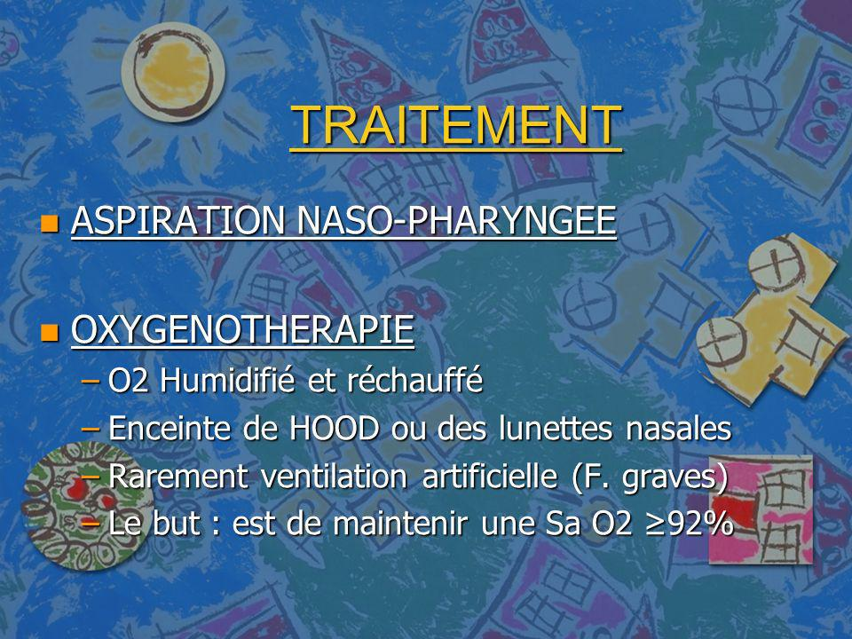 TRAITEMENT ASPIRATION NASO-PHARYNGEE OXYGENOTHERAPIE