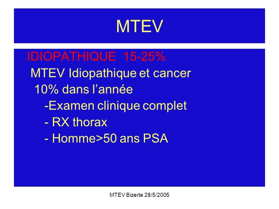 MTEV IDIOPATHIQUE 15-25% MTEV Idiopathique et cancer 10% dans l'année