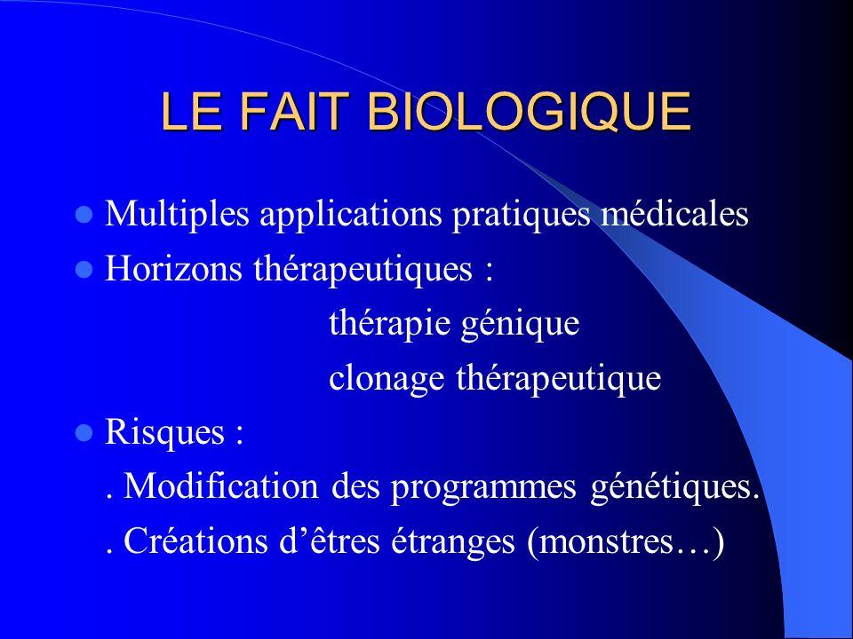 LE FAIT BIOLOGIQUE Multiples applications pratiques médicales