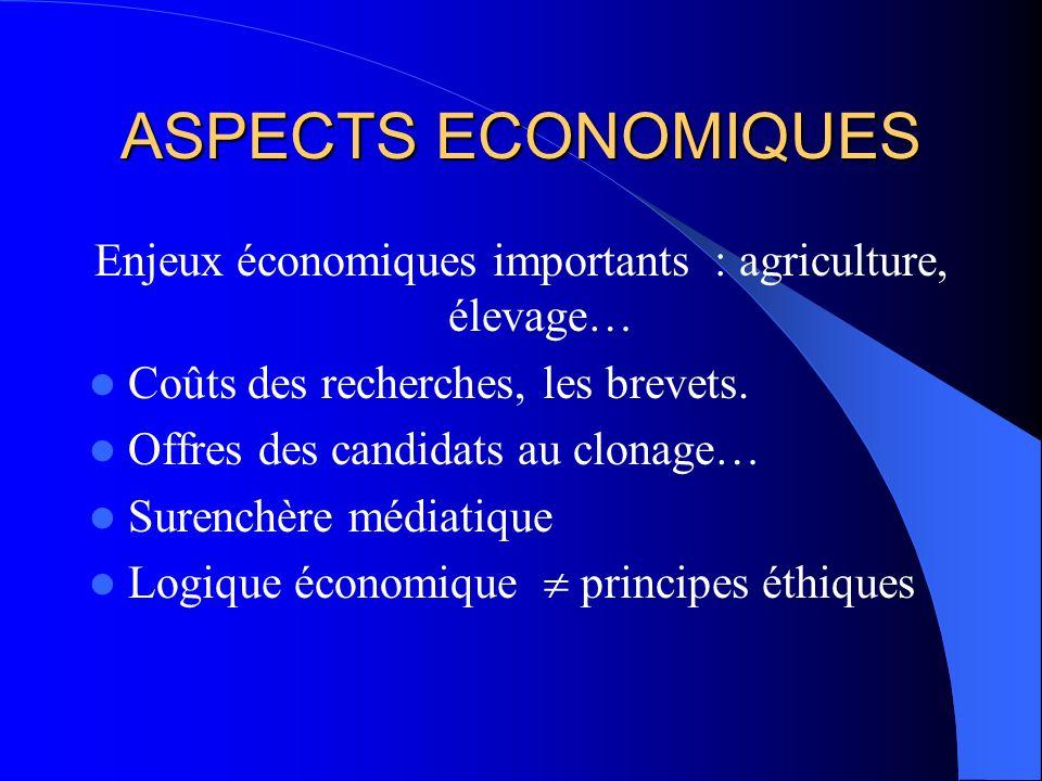 Enjeux économiques importants : agriculture, élevage…