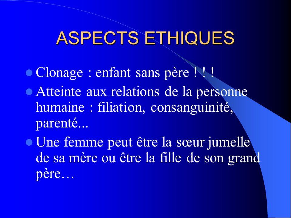 ASPECTS ETHIQUES Clonage : enfant sans père ! ! !