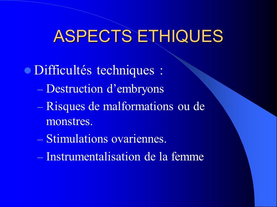 ASPECTS ETHIQUES Difficultés techniques : Destruction d'embryons