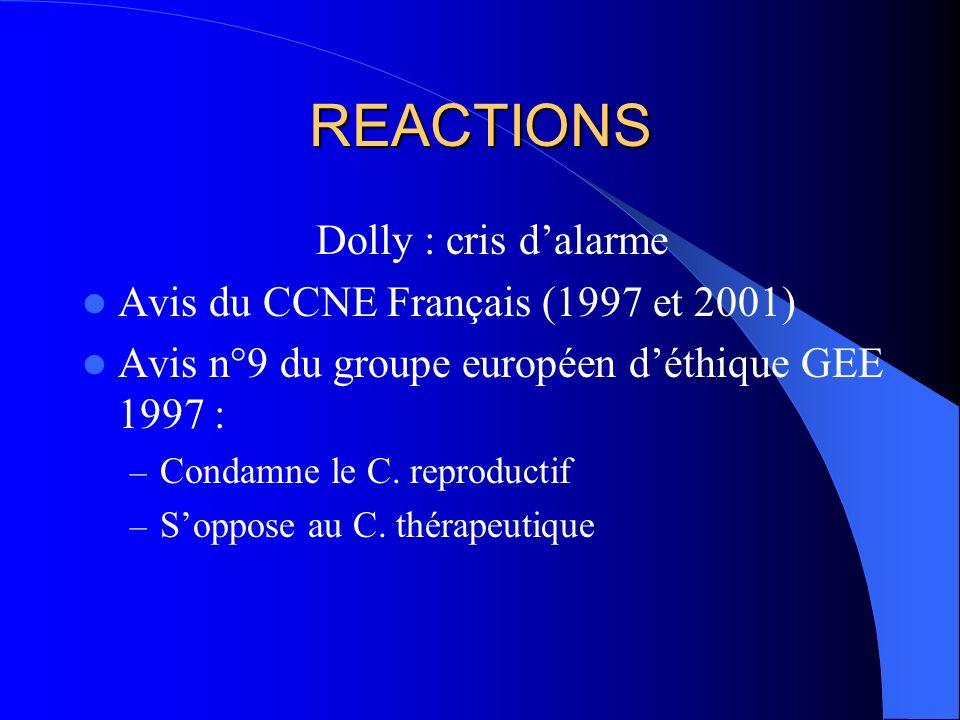 REACTIONS Dolly : cris d'alarme Avis du CCNE Français (1997 et 2001)