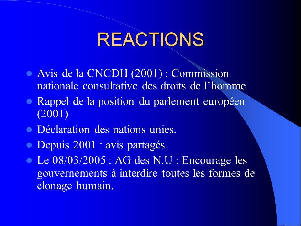 REACTIONS Avis de la CNCDH (2001) : Commission nationale consultative des droits de l'homme. Rappel de la position du parlement européen (2001)