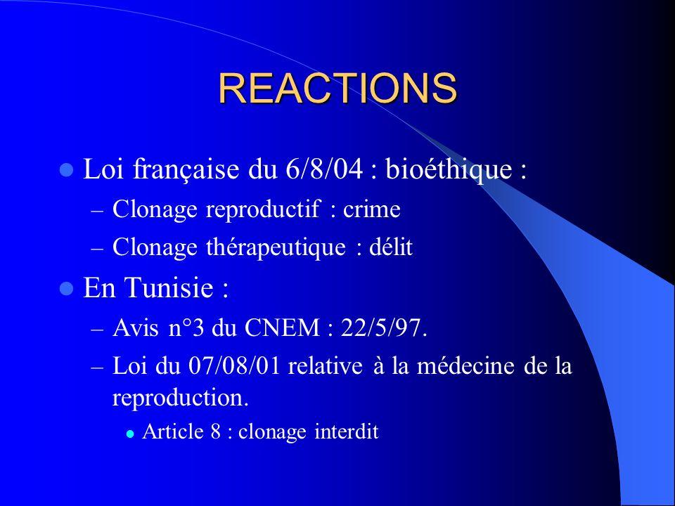 REACTIONS Loi française du 6/8/04 : bioéthique : En Tunisie :