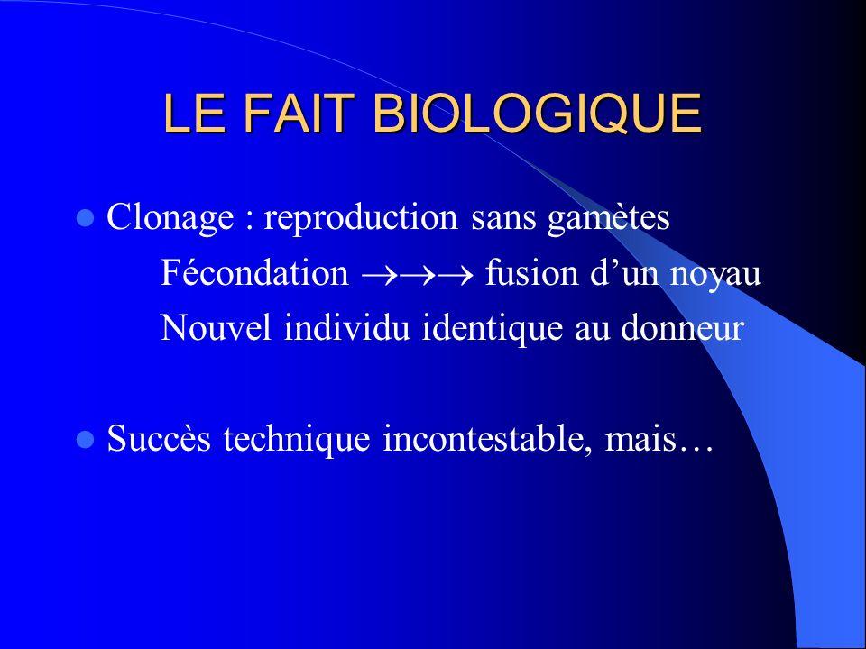 LE FAIT BIOLOGIQUE Clonage : reproduction sans gamètes