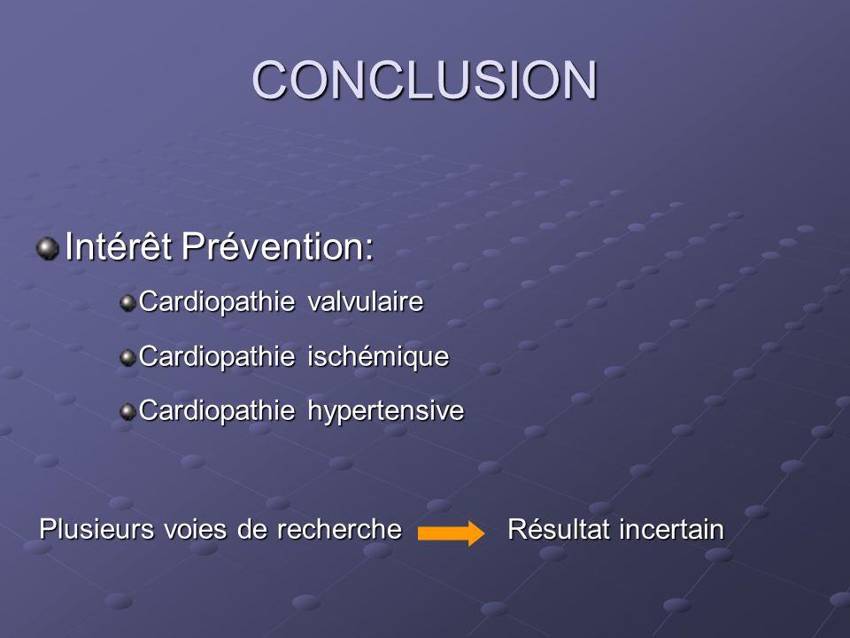 CONCLUSION Intérêt Prévention: Cardiopathie valvulaire