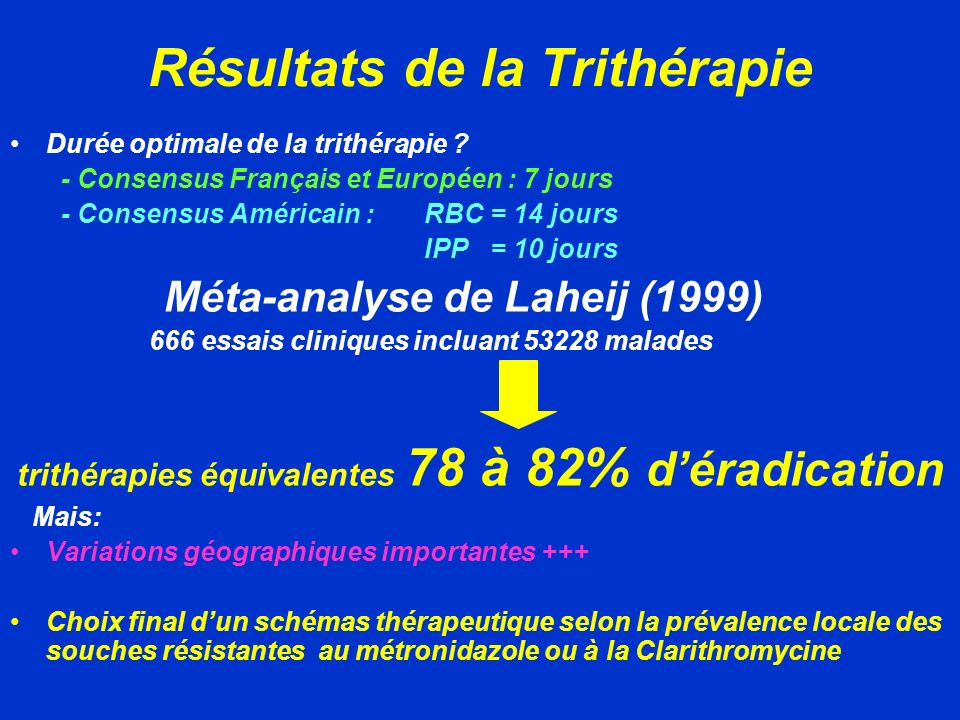 Résultats de la Trithérapie