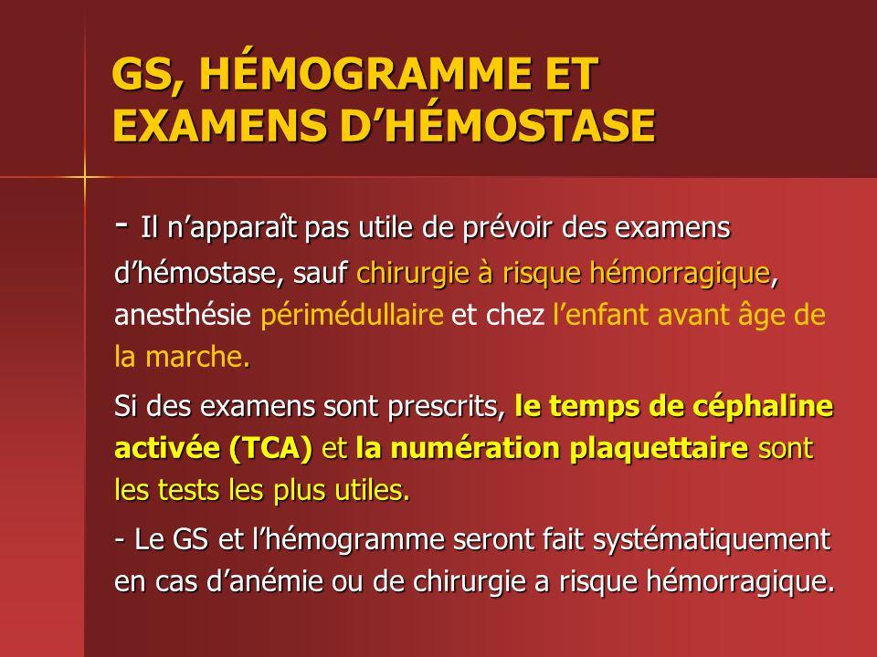 GS, HÉMOGRAMME ET EXAMENS D'HÉMOSTASE