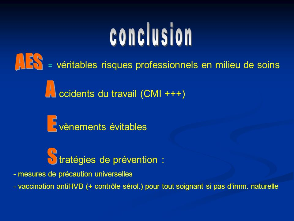 conclusion vènements évitables tratégies de prévention : AES A E S