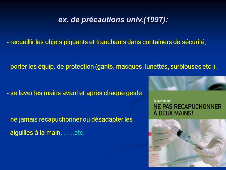 ex. de précautions univ.(1997):