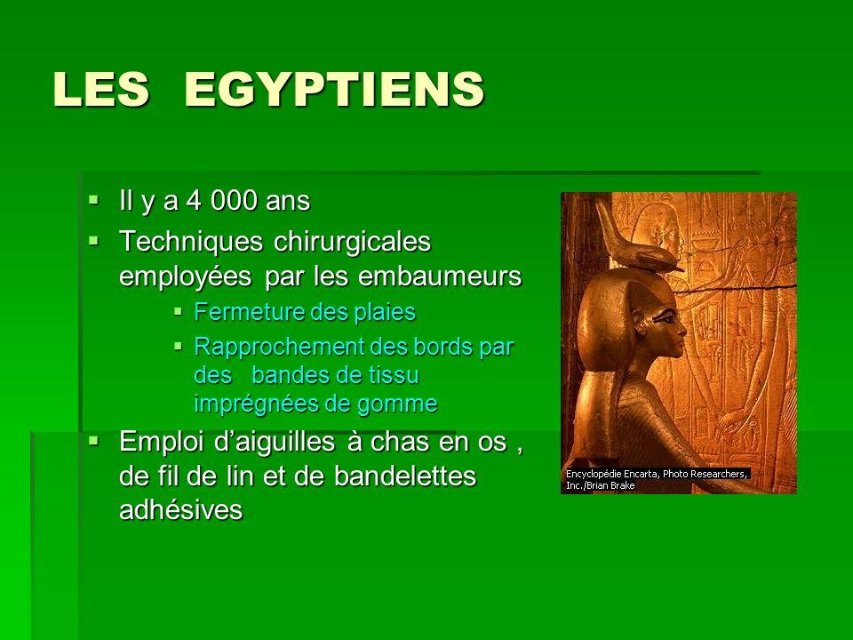 LES EGYPTIENS Il y a 4 000 ans. Techniques chirurgicales employées par les embaumeurs. Fermeture des plaies.