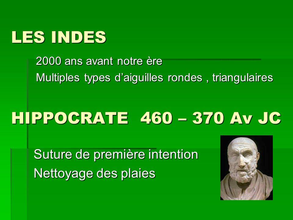 LES INDES HIPPOCRATE 460 – 370 Av JC Suture de première intention