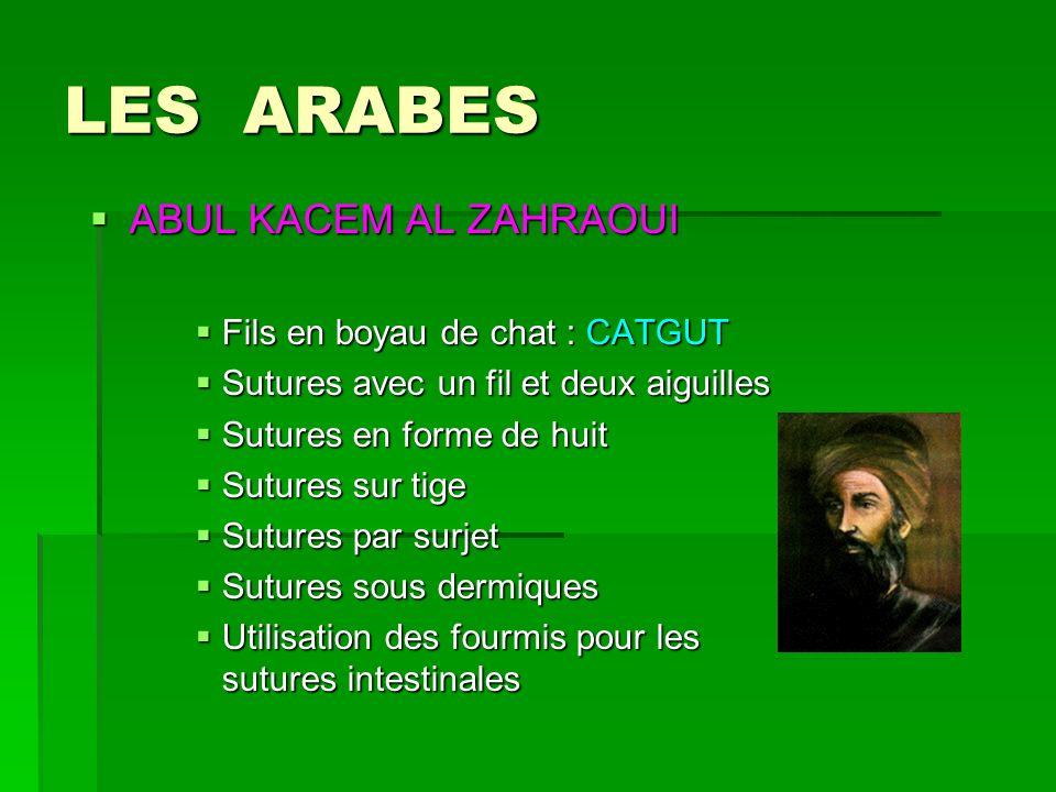 LES ARABES ABUL KACEM AL ZAHRAOUI Fils en boyau de chat : CATGUT