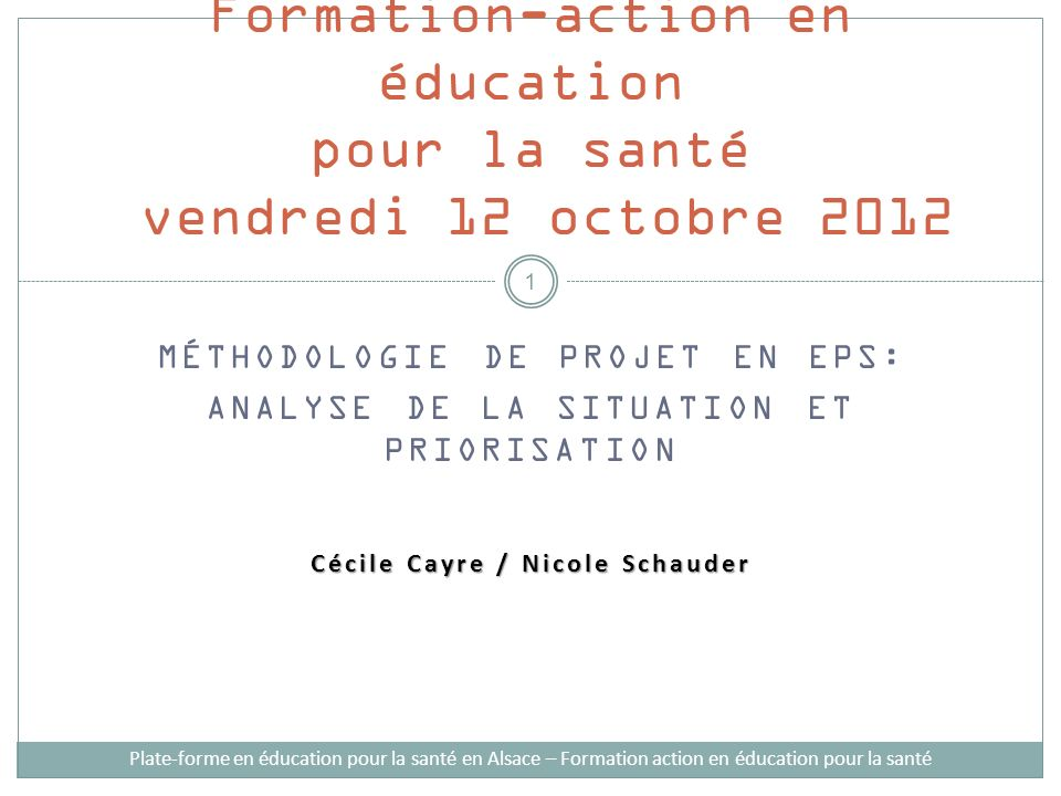 Formation-action en éducation pour la santé vendredi 12 octobre 2012