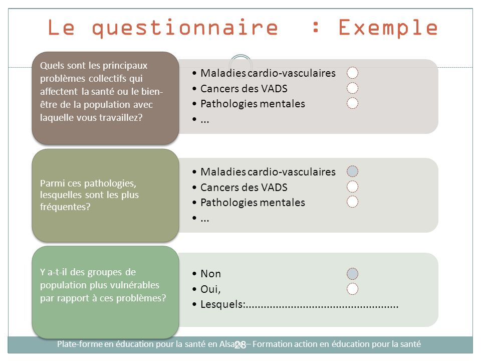 Le questionnaire : Exemple