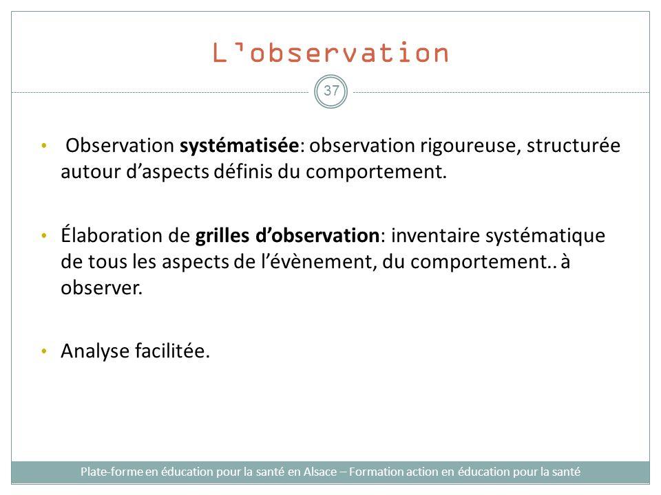 L'observationObservation systématisée: observation rigoureuse, structurée autour d'aspects définis du comportement.