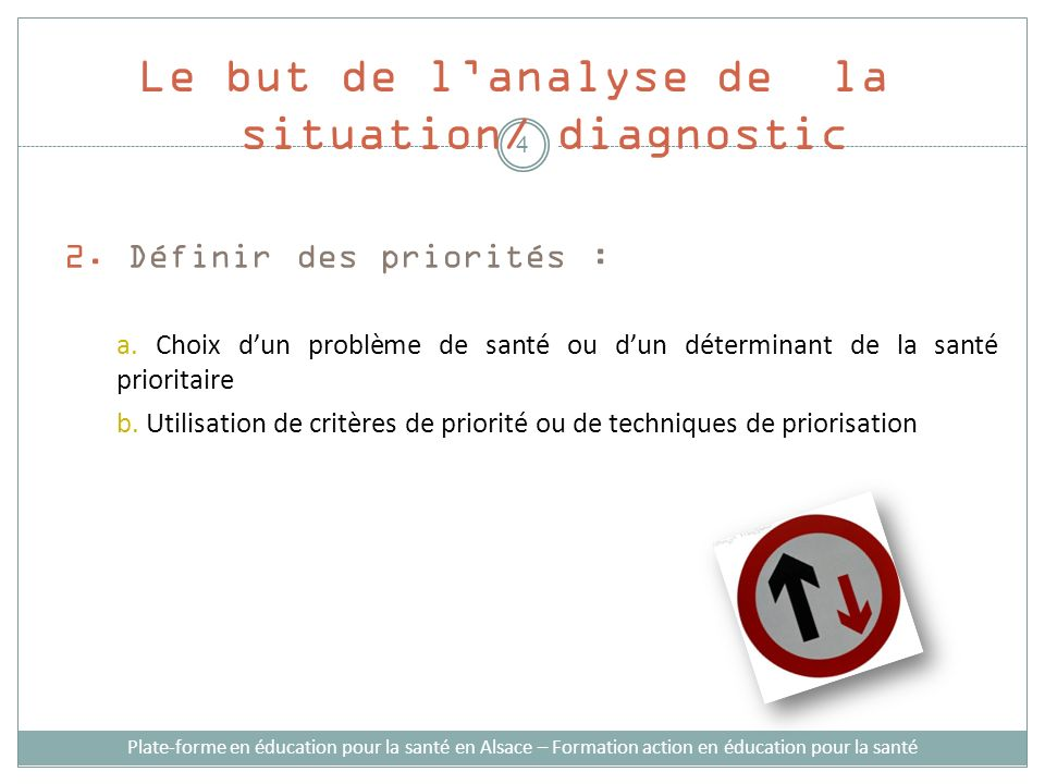 Le but de l'analyse de la situation/ diagnostic