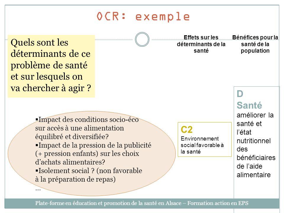 OCR: exempleEffets sur les déterminants de la santé. Bénéfices pour la santé de la population.