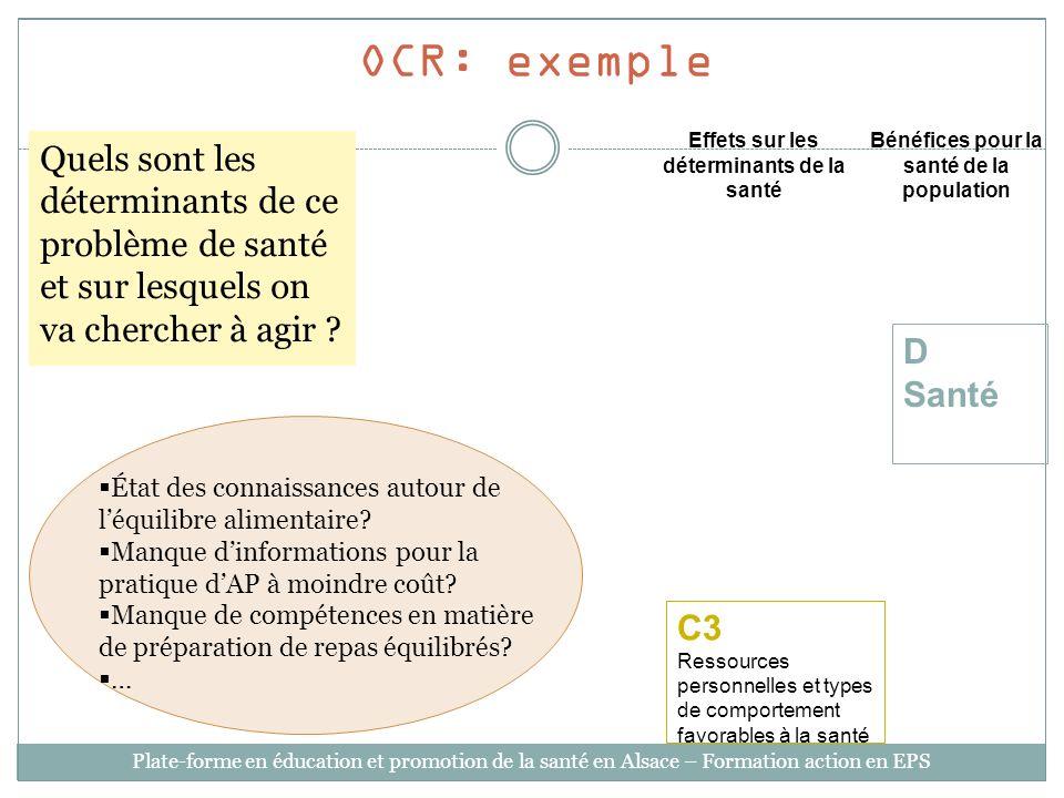 OCR: exemple Effets sur les déterminants de la santé. Bénéfices pour la santé de la population.