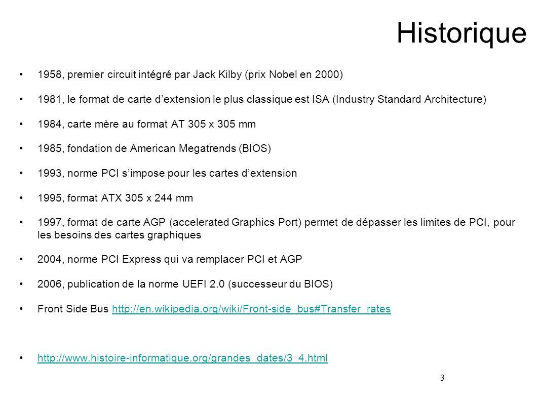 Historique 1958, premier circuit intégré par Jack Kilby (prix Nobel en 2000)