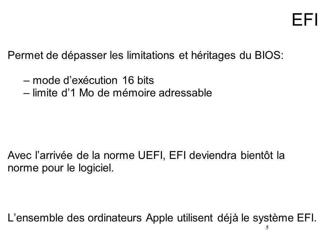 EFI Permet de dépasser les limitations et héritages du BIOS:
