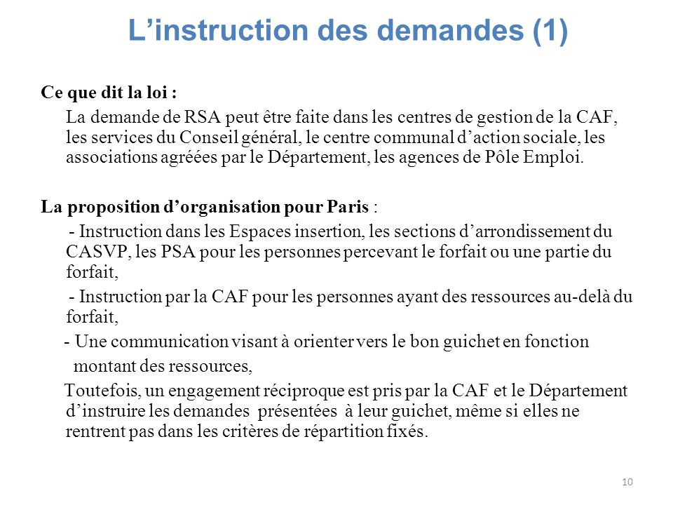 L'instruction des demandes (1)