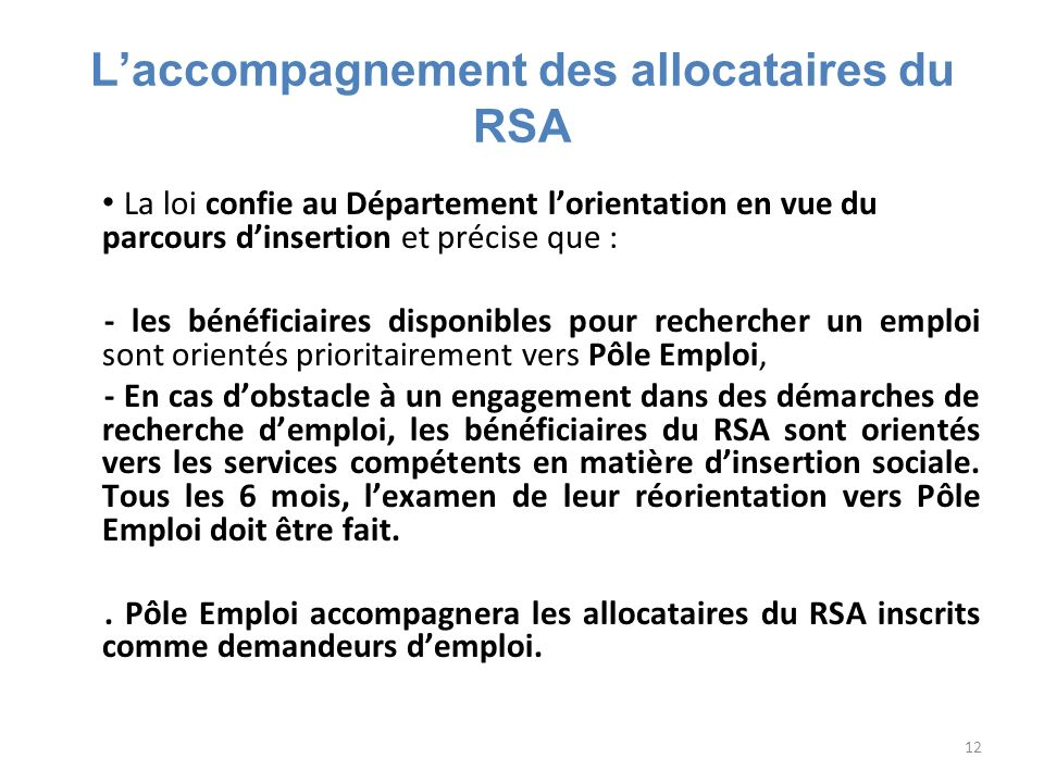 L'accompagnement des allocataires du RSA