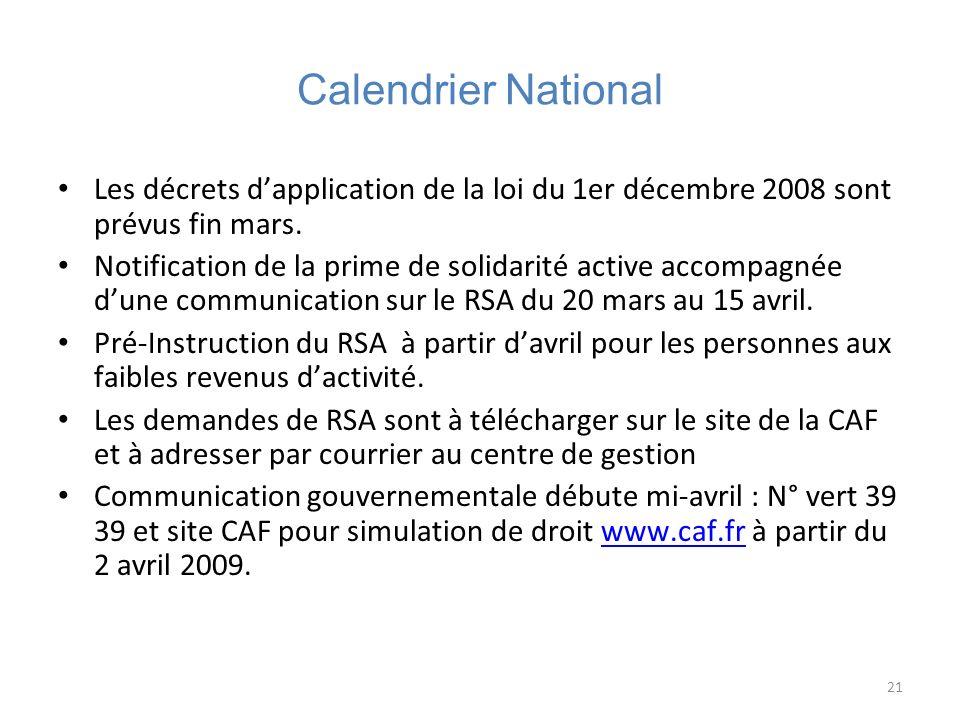 Calendrier National Les décrets d'application de la loi du 1er décembre 2008 sont prévus fin mars.