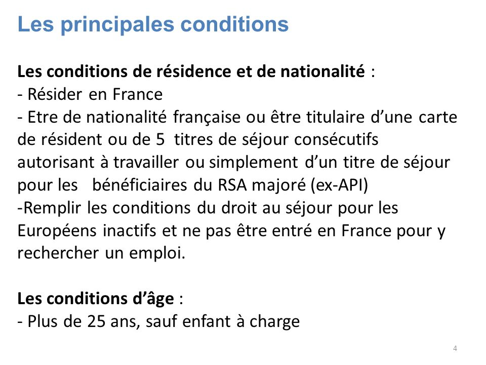 Les principales conditions