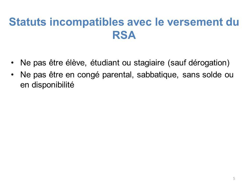 Statuts incompatibles avec le versement du RSA