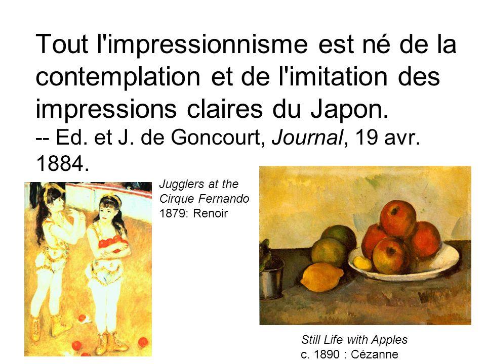 Tout l impressionnisme est né de la contemplation et de l imitation des impressions claires du Japon. -- Ed. et J. de Goncourt, Journal, 19 avr. 1884.