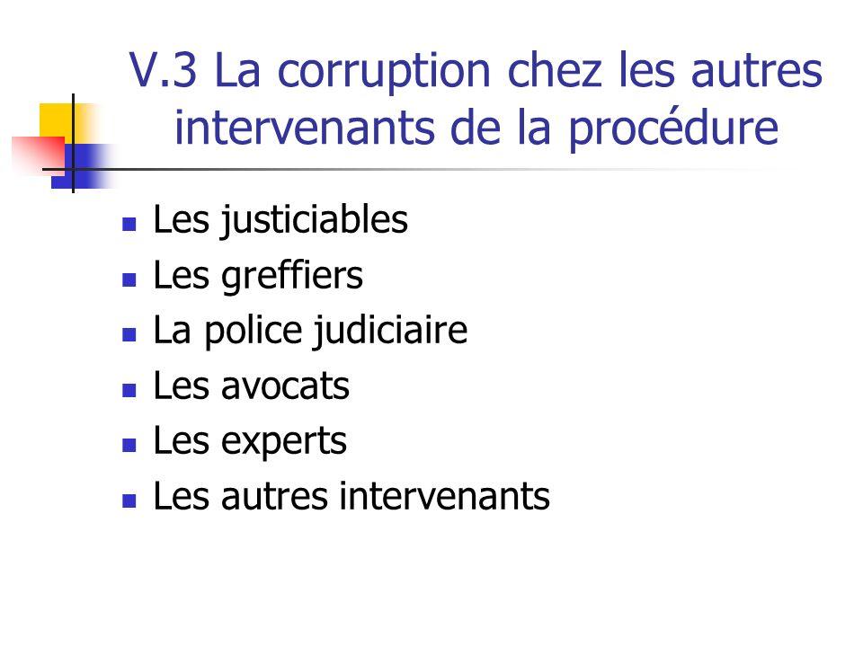V.3 La corruption chez les autres intervenants de la procédure