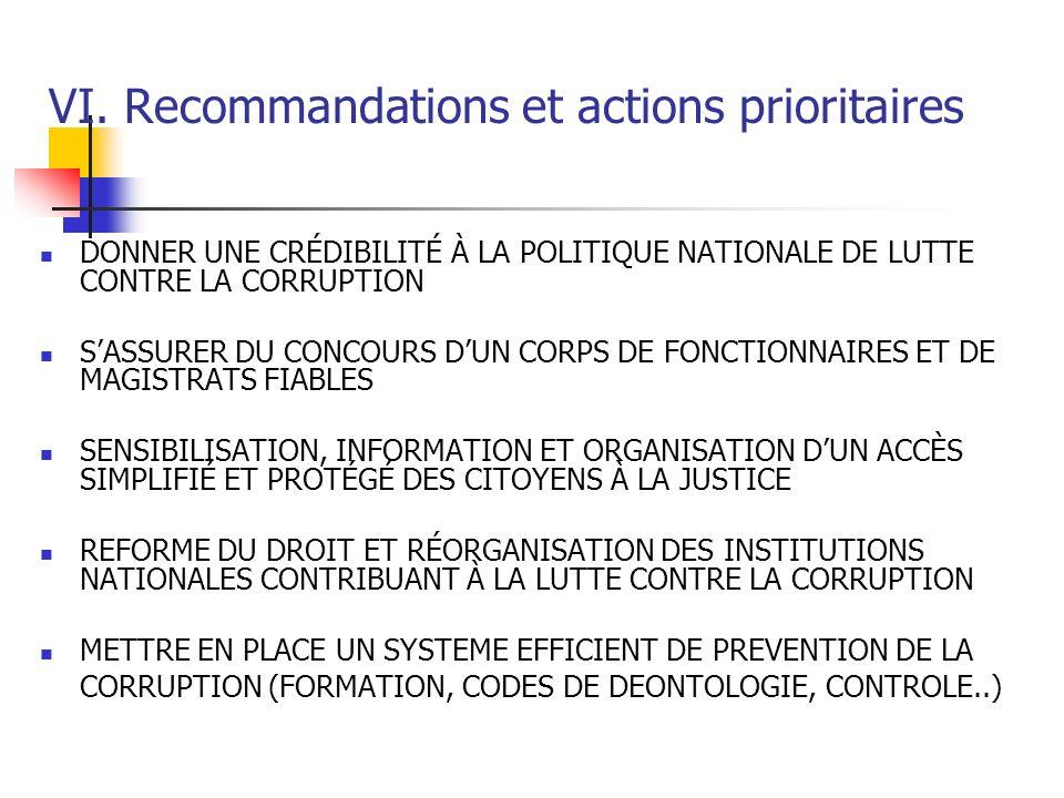 VI. Recommandations et actions prioritaires