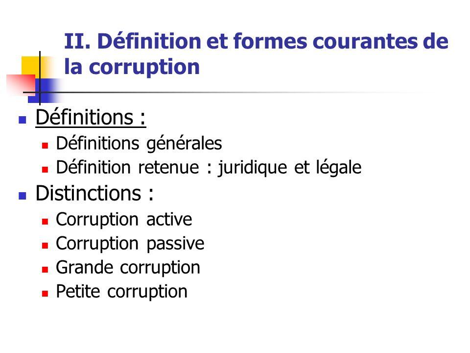 II. Définition et formes courantes de la corruption