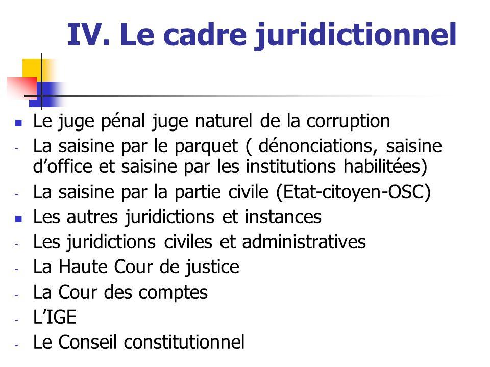IV. Le cadre juridictionnel