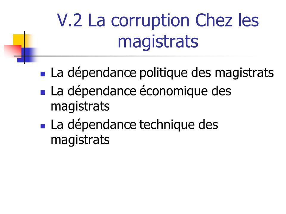 V.2 La corruption Chez les magistrats