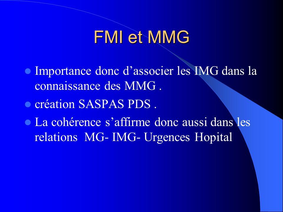 FMI et MMG Importance donc d'associer les IMG dans la connaissance des MMG . création SASPAS PDS .