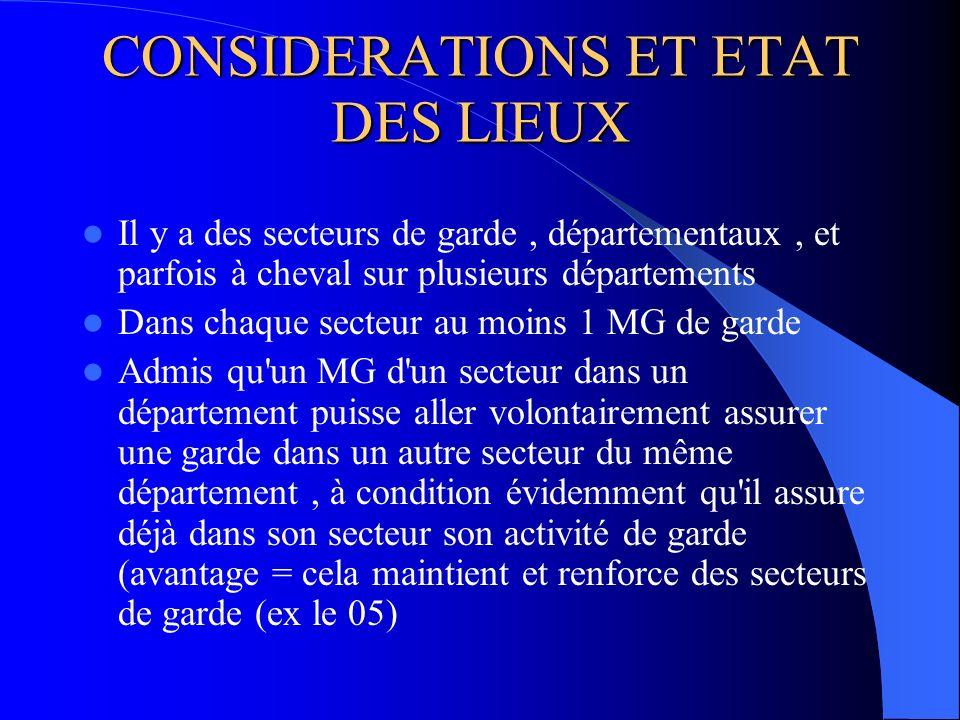 CONSIDERATIONS ET ETAT DES LIEUX