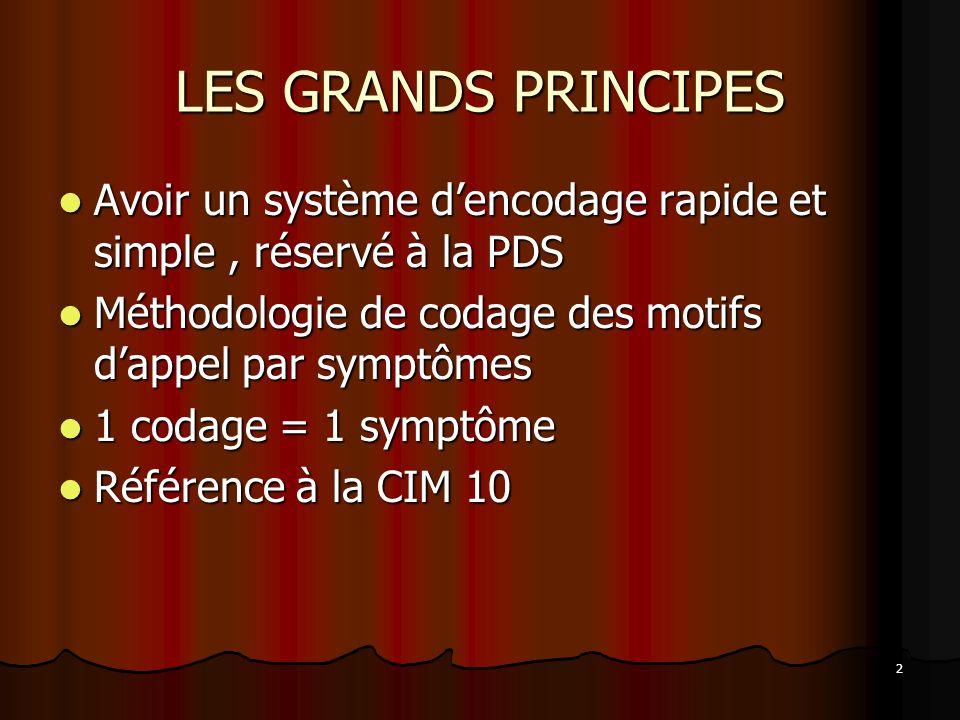 LES GRANDS PRINCIPES Avoir un système d'encodage rapide et simple , réservé à la PDS. Méthodologie de codage des motifs d'appel par symptômes.