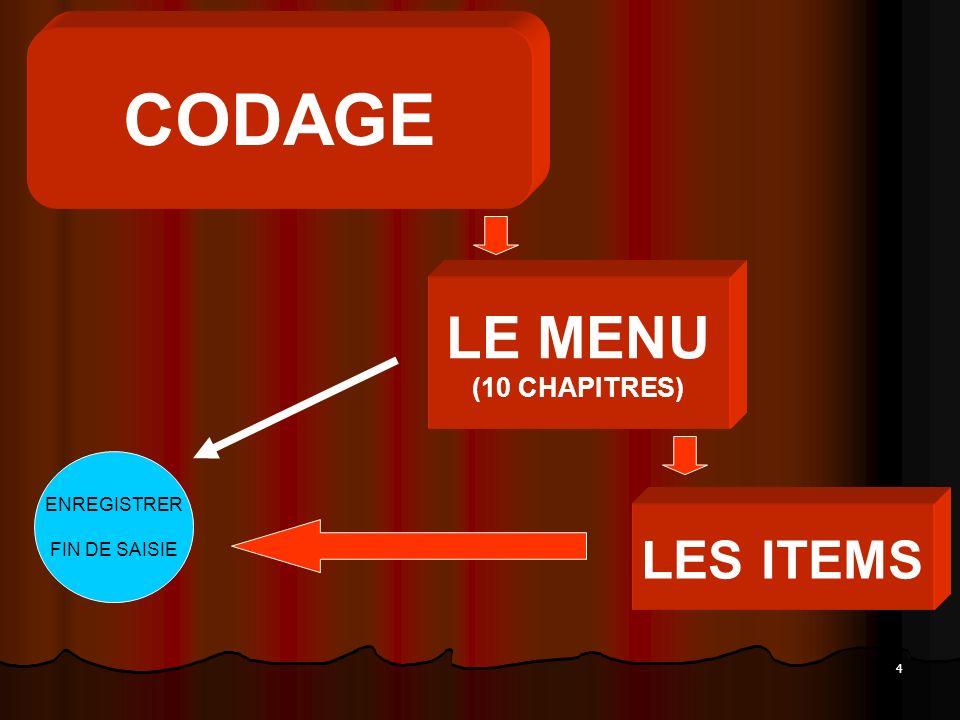 CODAGE LE MENU (10 CHAPITRES) ENREGISTRER FIN DE SAISIE LES ITEMS