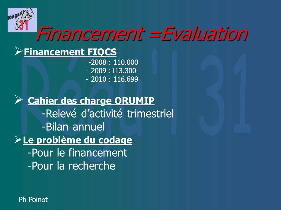 Financement =Evaluation