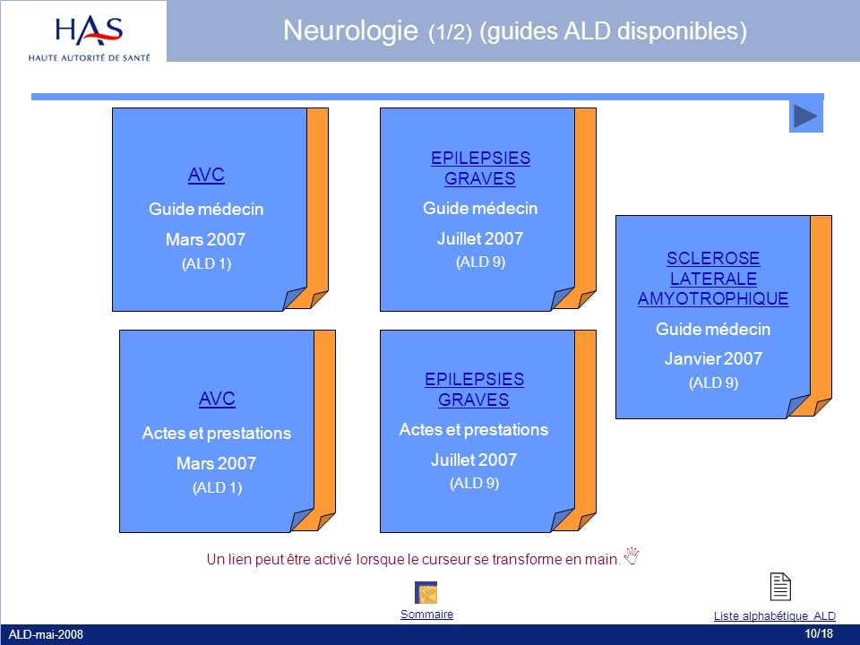 Neurologie (1/2) (guides ALD disponibles)