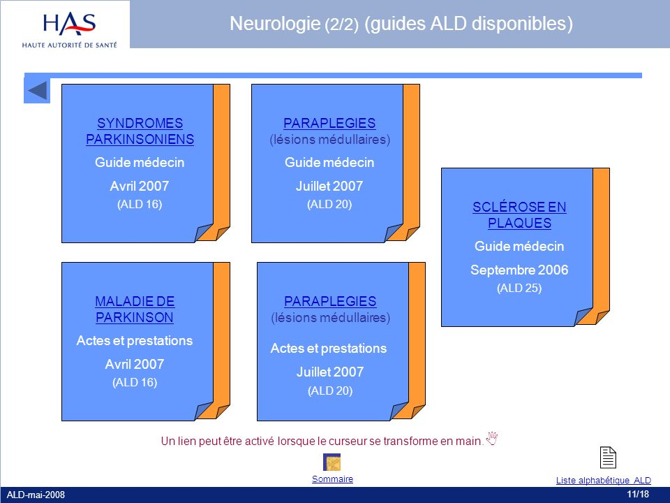 Neurologie (2/2) (guides ALD disponibles)