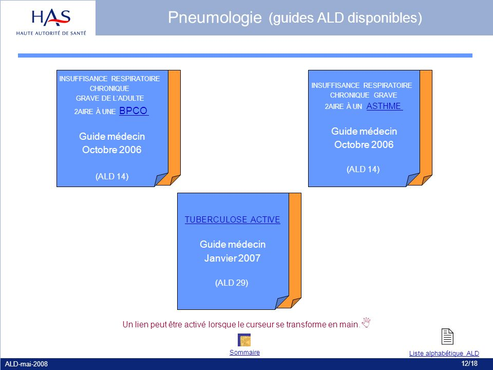 Pneumologie (guides ALD disponibles)