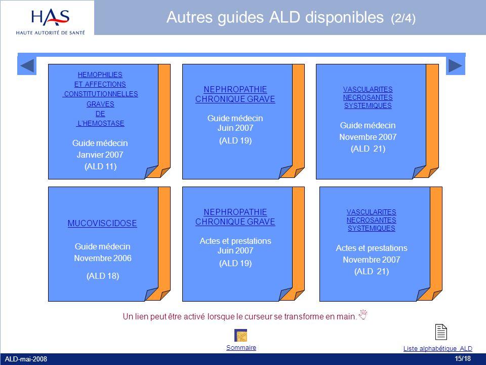  Autres guides ALD disponibles (2/4) Guide médecin Janvier 2007