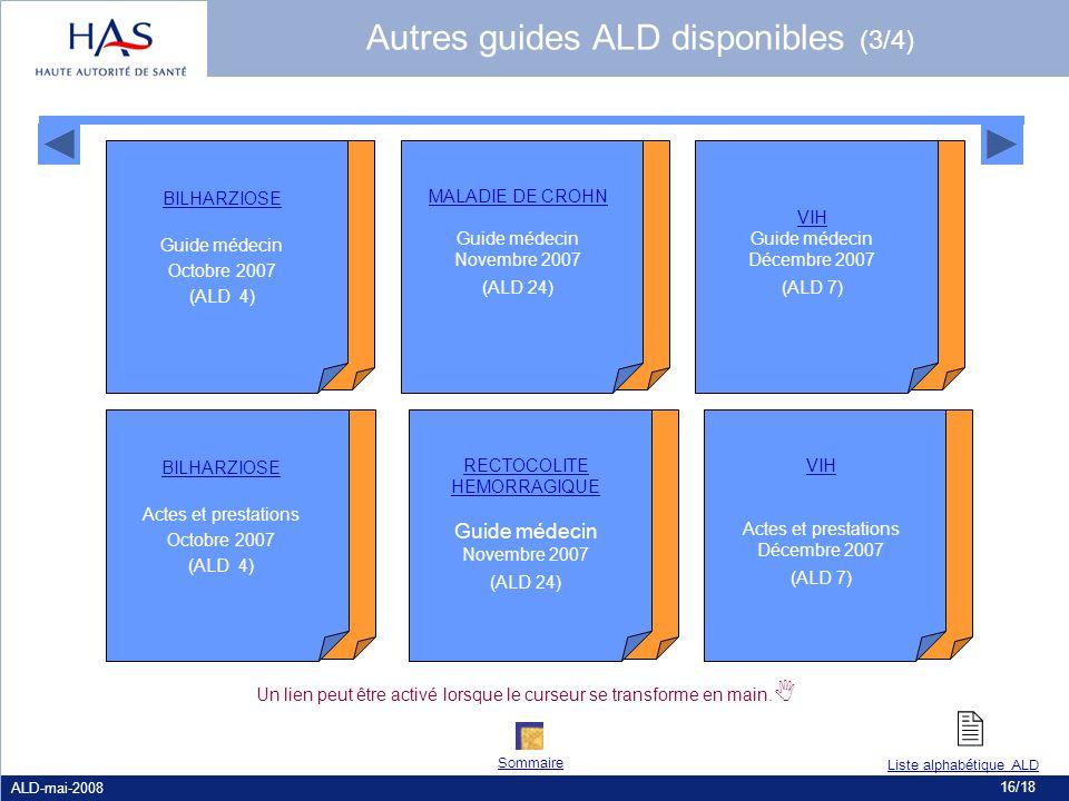  Autres guides ALD disponibles (3/4) Guide médecin Novembre 2007
