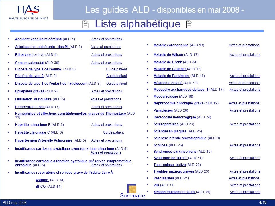 Les guides ALD - disponibles en mai 2008 -
