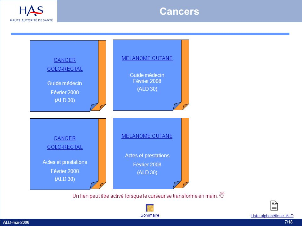  Cancers MELANOME CUTANE CANCER COLO-RECTAL Guide médecin