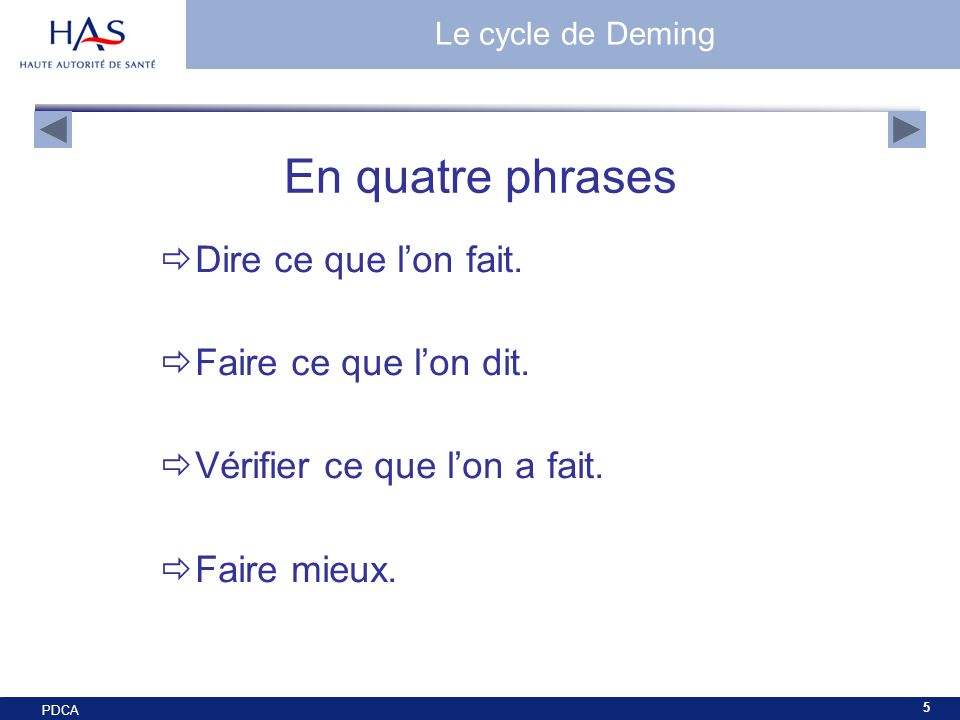 En quatre phrases Dire ce que l'on fait. Faire ce que l'on dit.